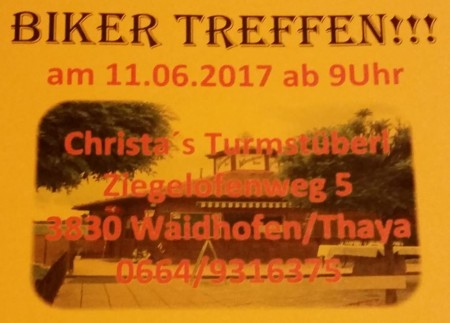 11.Juni 2017 Einladung Christa's Turmstüberl
