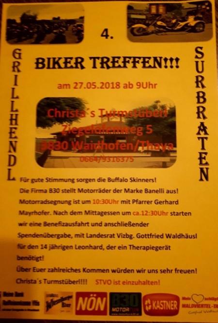 Christas Turmstüberl – 4. Bikertreffen 27.Mai 2018